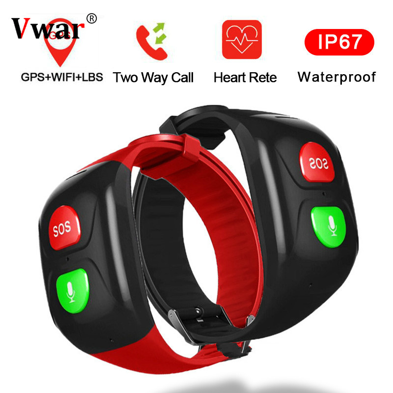 Vwar SOS Smart Bracelet GPS WIFI Elderly Smart Watch Swimming Heart Rate Remote Monitor Call Band Smartband for Older Old Man image
