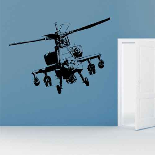 Apache Helicopter Wall Stickers Army Bedroom Military Graphic transfer decal airplane Vinyl mural living room kids room decor