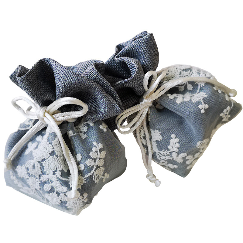 5pcs Flower Embroidery Lace Drawstring Bag Pouch Packaging Gift Bag Underwear Organizer Bag