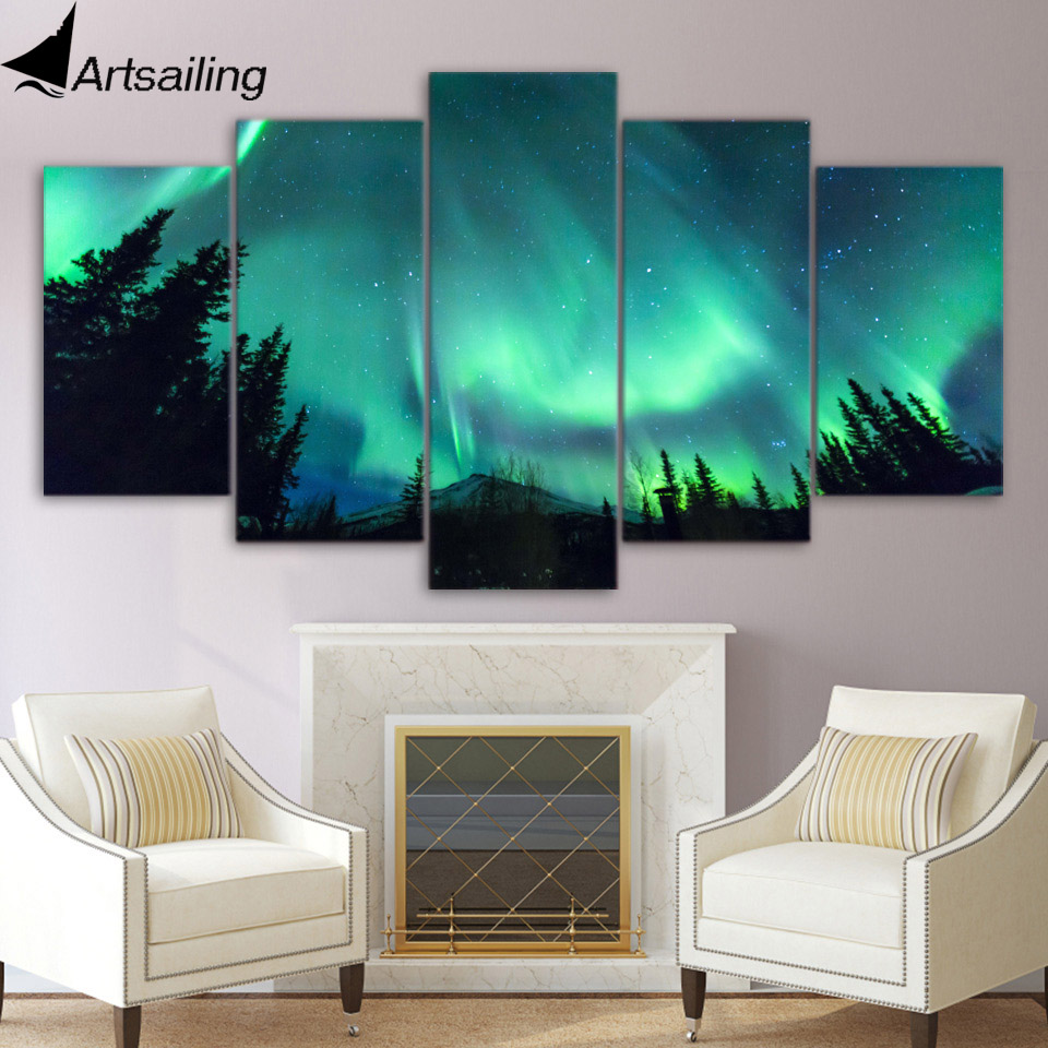 5 piece canvas art forest Aurora starry night sky canvas ...