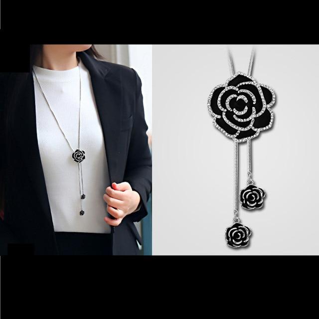 3310c54d6678 N93 Camelia negro flores famoso de la marca de lujo diseñador collar  collares largos encanto collar