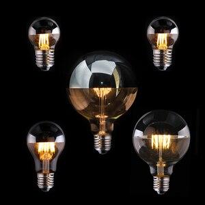 Image 1 - Vintage Edison LED Bulb Dimmable Silver Mirror Crown Filament LED Lamp A19 G45 G95 4W 6W 8W Warm White E27 2700K 110V 220V Light