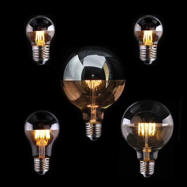Vintage Edison LED Bulb Dimmable Silver Mirror Crown Filament LED Lamp A19 G45 G95 4W 6W 8W Warm White E27 2700K 110V 220V Light