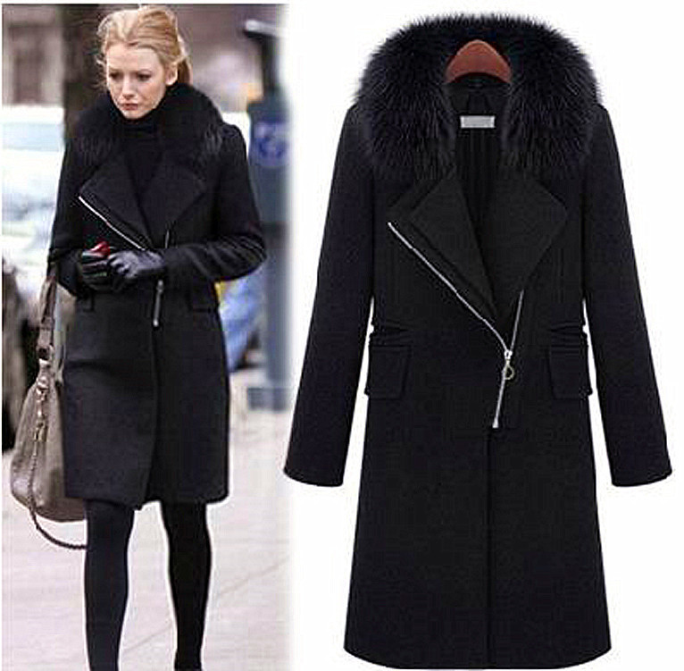 winter fur collar woolen coat wool windbreaker women. Black Bedroom Furniture Sets. Home Design Ideas