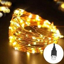 5 м 10 м светодиодный гирлянда на Рождество 5 в USB светодиодный медный провод сказочные огни Праздничные Свадебные центральные вечерние украшения для домашнего стола