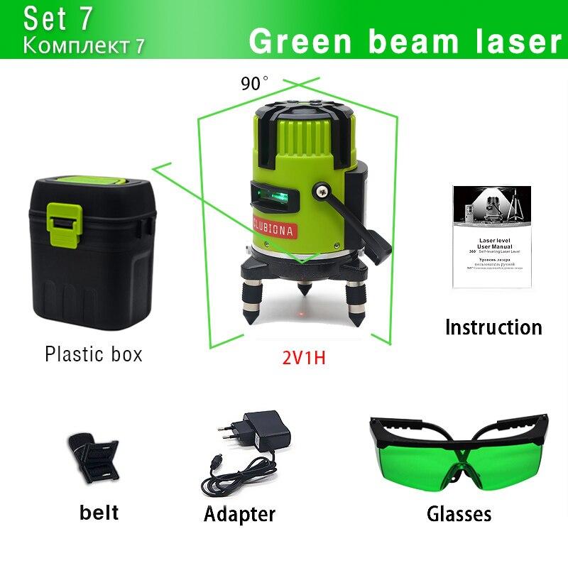CLUBIONA зеленый и красный луч линии 360 градусов Поворотный наружный режим-приемник и наклон slash доступен автоматический линейный лазерный уровень - Цвет: M03G