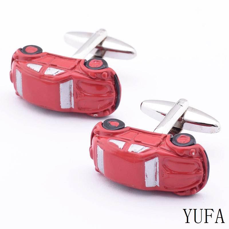 Free shipping New Arrival Brass Shirts Mens Button Up Red Car Make Custom Novelty Cufflinks