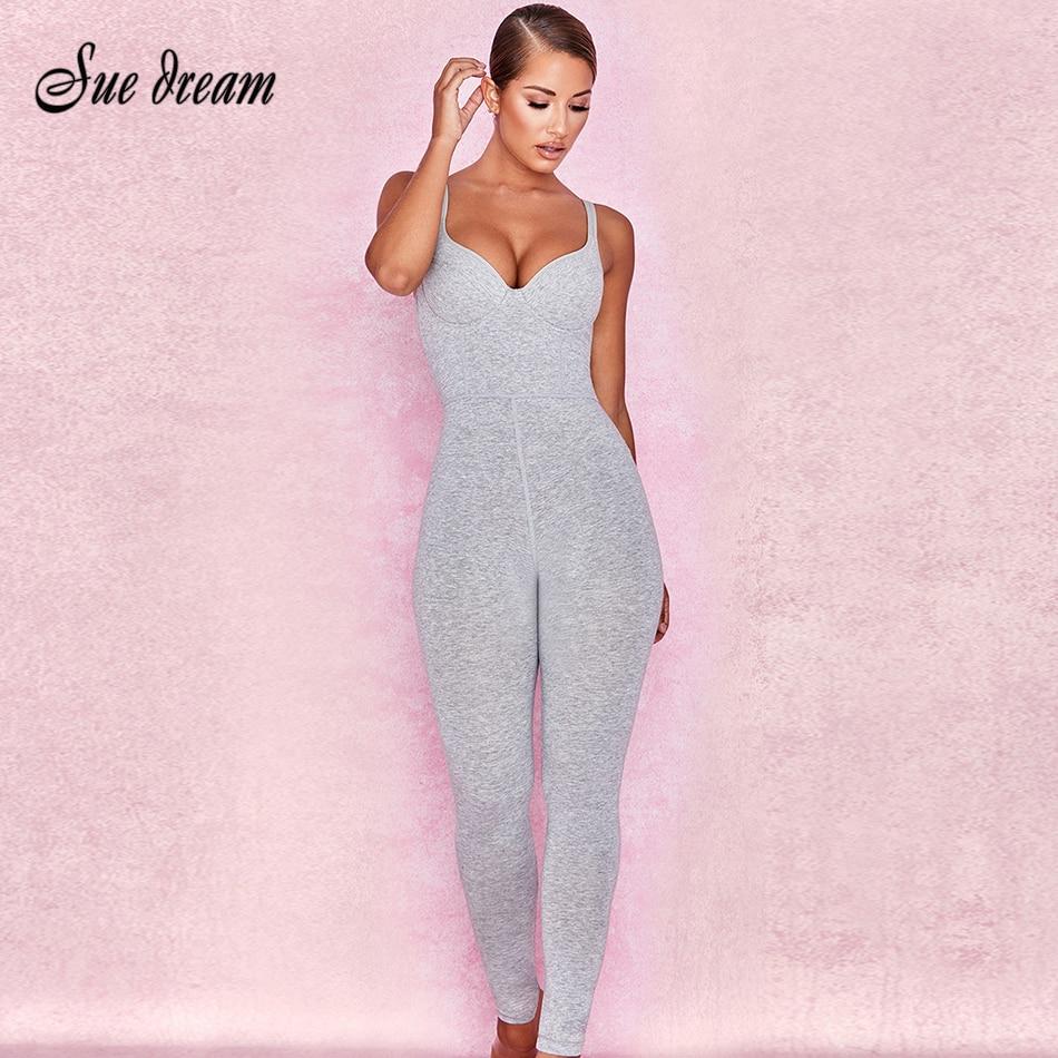2019 Summer New Women's Fashion Sexy V-neck Sleeveless Spaghetti Jumpsuit Slim Gray Bodycon Tight Stretch Leotard