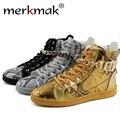 Merkmak 2016 Brand мужская Обувь Уличный Танец Высокие Металлические Цепи Молния Дизайн Роскошные Квартиры Обувь Повседневная Обувь Лодыжки сапоги