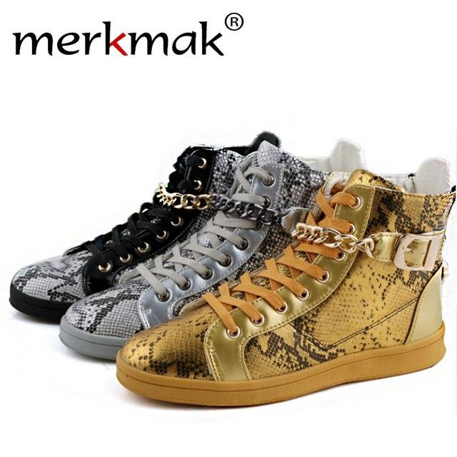 Merkmak 2016 hombres de la Marca de Zapatos de La Danza de La Calle High Top Cadena de Metal Diseño de la Cremallera de Lujo Zapatos de Los Planos de Los Zapatos Ocasionales Del Tobillo botas