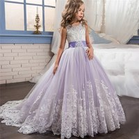 Dress For Girls Wedding Party Cloths Lace Bow Elegant Princess Pageant Formal Gown for Children 6 14 Years Teenagers Clothes