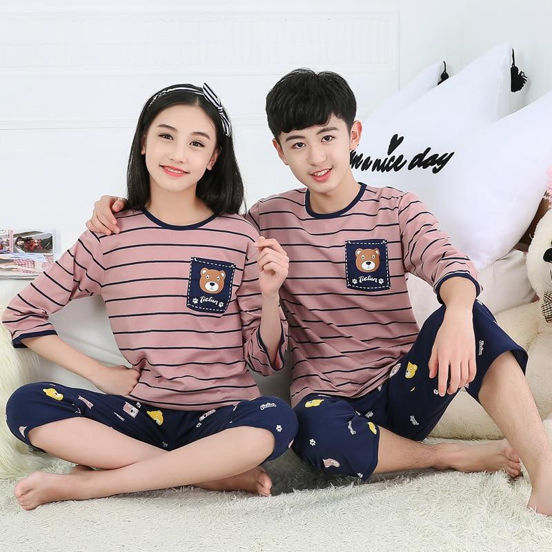 2019 Cotton Boys Girls Pajamas Summer Short Sleeve Kids Pyjamas Teen Girls Clothing Boys Clothes 10 Years Set Children Pyjama 6