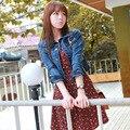 Семь рукава короткие конструкция джинсовой верхняя одежда тонкий отложным воротником куртка женская джинсовая верхняя одежда 9299
