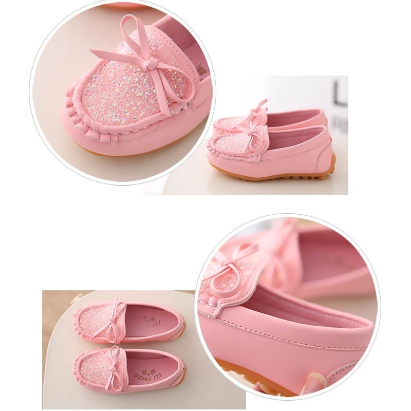 NANCY TINO New Childrens Single Shoes Flat Candy Bowknot Peas Shoes Girls Princess Shoes Baby Shoes