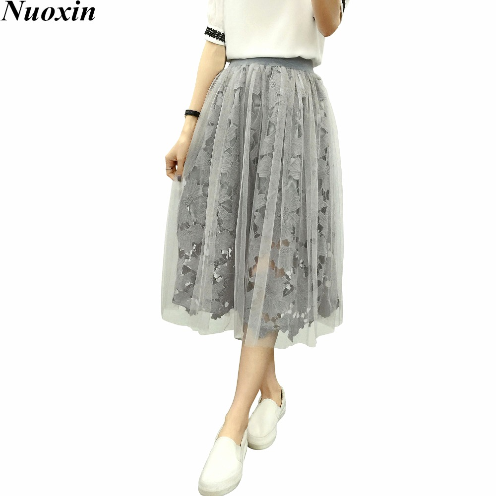 nuoxin lace tulle skirts high waist mesh midi