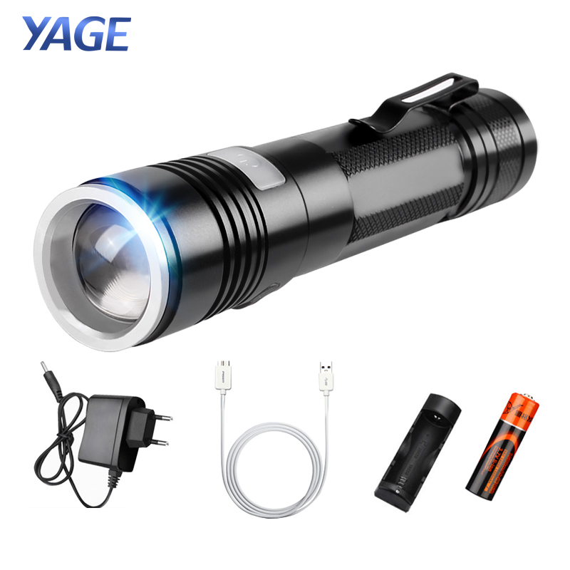 YAGE Q5 2000LM Aluminum Zoomable 5 Modes CREE LED USB Clip Flashlight Torch Light with 18650