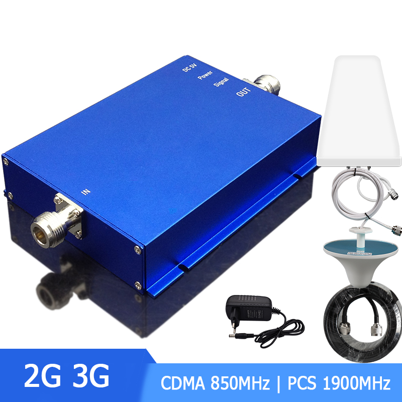Band3 Band5 Amplifier Cellular Signal Booster Dual Band CDMA 850Mhz PCS 1900Mhz  2G 3G With Antenna 65dB Set -