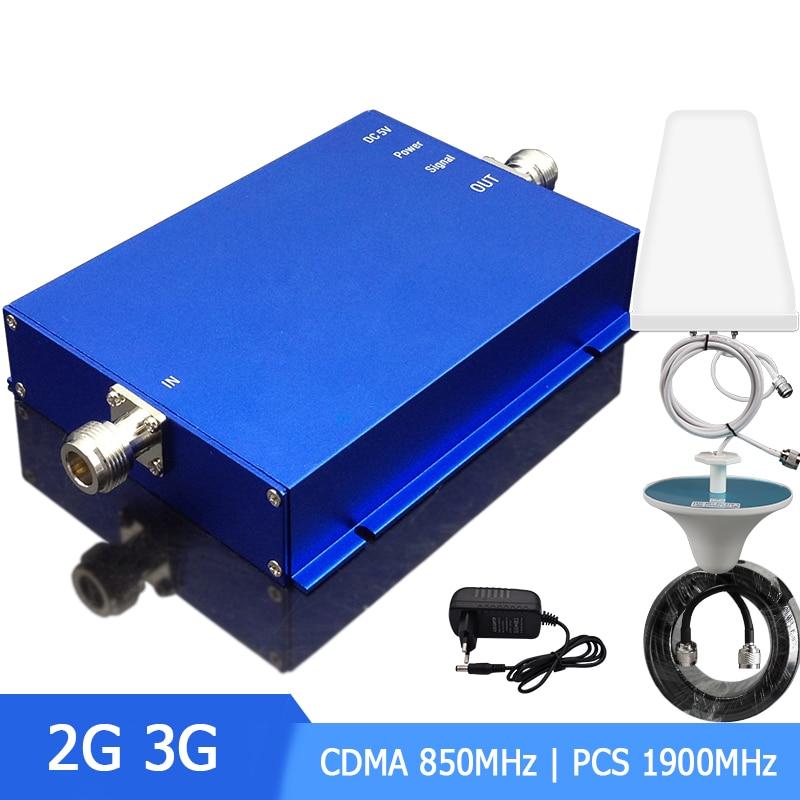 Band3 Band5 amplificateur de Signal cellulaire Booster double bande CDMA 850 Mhz PCS 1900 Mhz 2G 3G avec antenne 65dB Set-