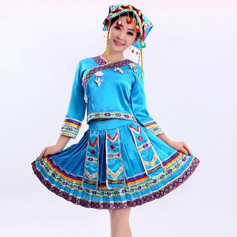 4a4cd1c13fb50 مياو الملابس همونغ ملابس رقص ملابس رقص مطوي تنورة الصينية التقليدية فستان  صيني مع Headress دروبشيبينغ