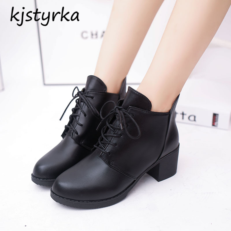 kjstyrka brand design botines mujer 2018 fashion simple comfortable winter warm patent leather ankle women boot bota feminina 4
