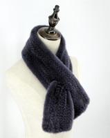 Luxury Unisex Women's Men's Genuine Mink Fur Hand Knitted Scarfs Scarves Wraps