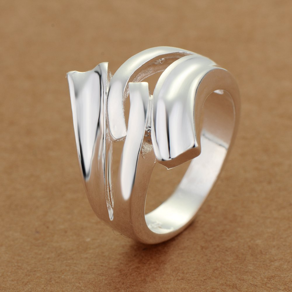 AR225 Hot Selling silver plated finger Rings for women men silver - Mote smykker - Bilde 6