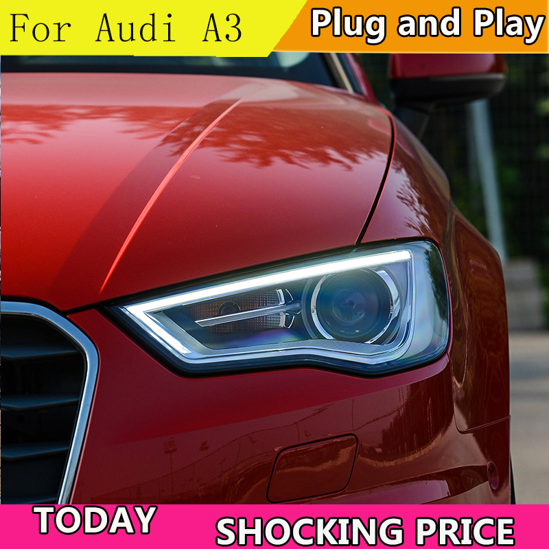 doxa Car Styling Car Styling For AUDI A3 headlights 2014 2016 For A3 head lamp led DRL front Bi Xenon Lens Double Beam HID KIT
