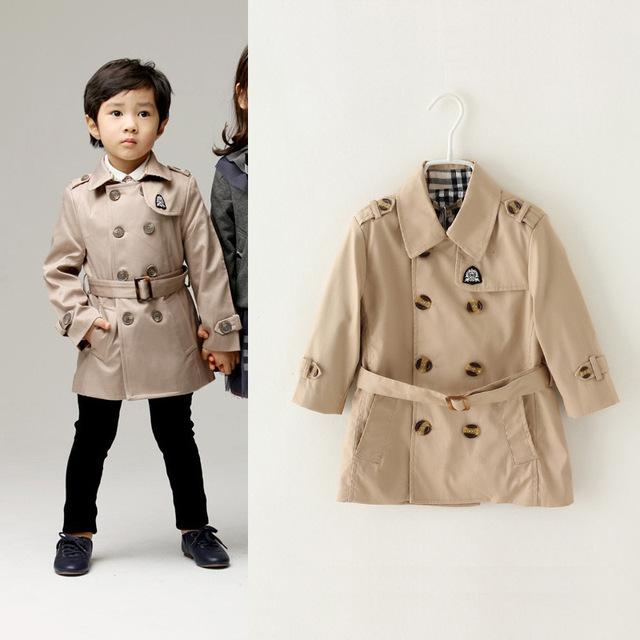2016 recién llegado moda invierno ropa de abrigo trench de la capa doble de pecho caliente chaqueta de abrigo de algodón para 3-10Y