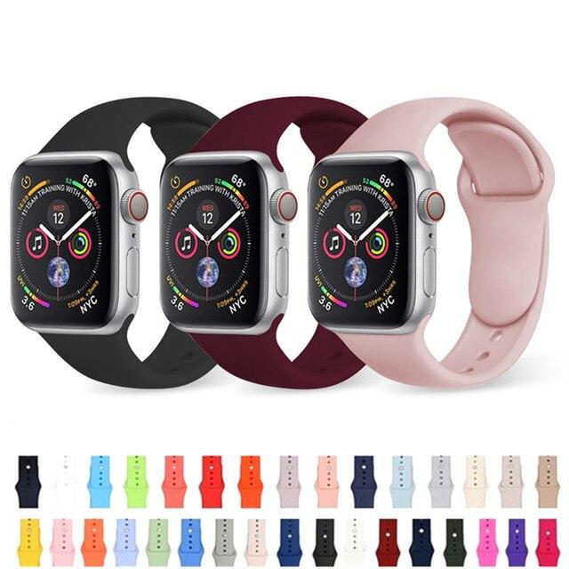 38 мм 40 мм 42 мм 44 мм спортивный мягкий силиконовый ремешок для часов Apple Watch Band Series 1 2 3 4 сменный ремешок на запястье ремень для iWatch
