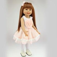 18in. 45cm Girl Toy Doll Lifelike Movable Full Vinyl Body Smile Princess Girl Doll Gift
