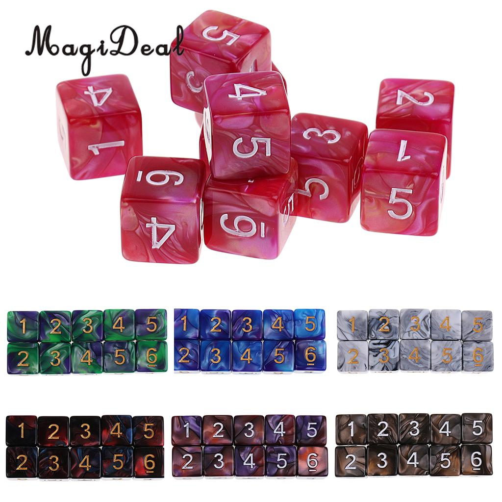 MagiDeal 10Pcs Acrylic 6 Sided D6 Polyhedral Dice for Party Club Table Games D&D MTG RPG Education School Supplies Toys 16mm