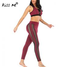 Two Piece Suit See Through Look Yoga Set Sports Wear For Women Gym Fitness Clothing Booty Leggings Sport Bra