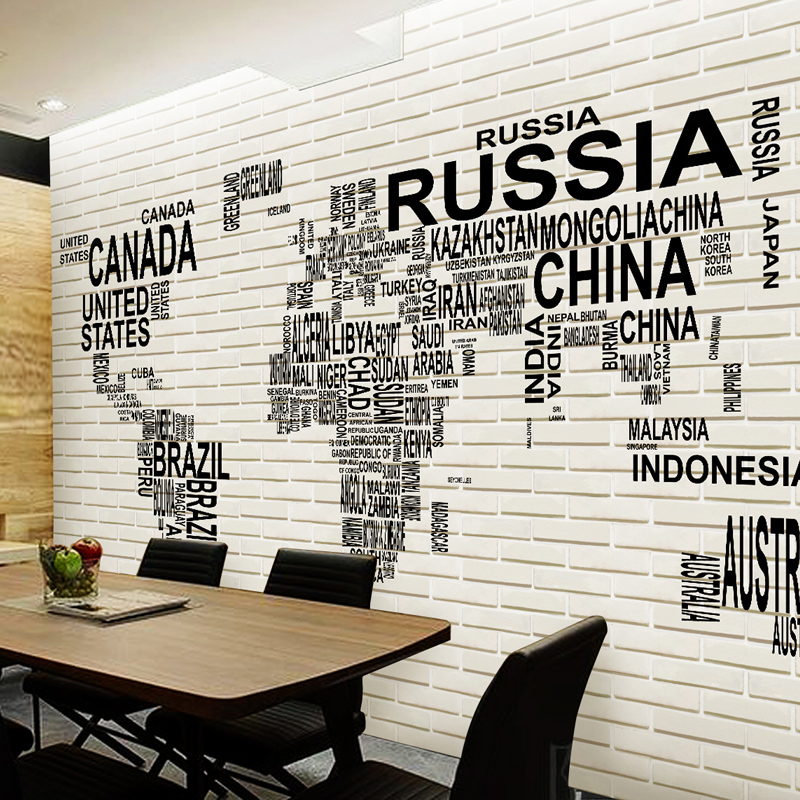 Large World Map and bricks Wallpaper 3d Photo Mural Wall paper for