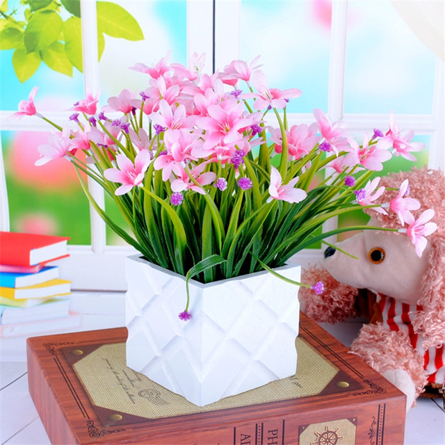Artificial Flowers New Orchid Small Potted Simulation Floral Arrangement  Living Room Bedroom Home Decorations Floral