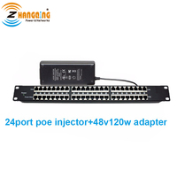 24 Port PoE Injector PoE Midspan Panel For CCTV Camera With 48V 120W Power Adapter