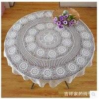 [130cm ] home decoration round table cloth trade garden European style hollow cotton table clothswhite
