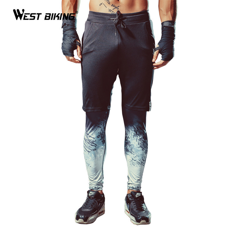 WEST BIKING False Two-pieces Cycling Pants Men Bodybuilding Fitness Compression Sports Basketball Tights Men Training Tracksuit