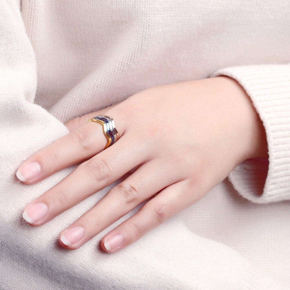 2018 Titanium Ring Fashion Wave Shaped 4 Colors Braided Wedding ...