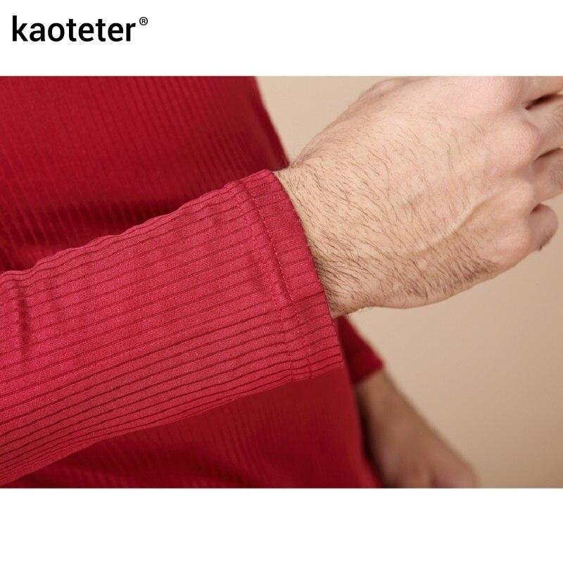 100% de seda pura para hombre Calzoncillos largos cuello en V para hombre conjuntos de ropa interior para hombres trajes térmicos antibacterianos de otoño para hombre - 4