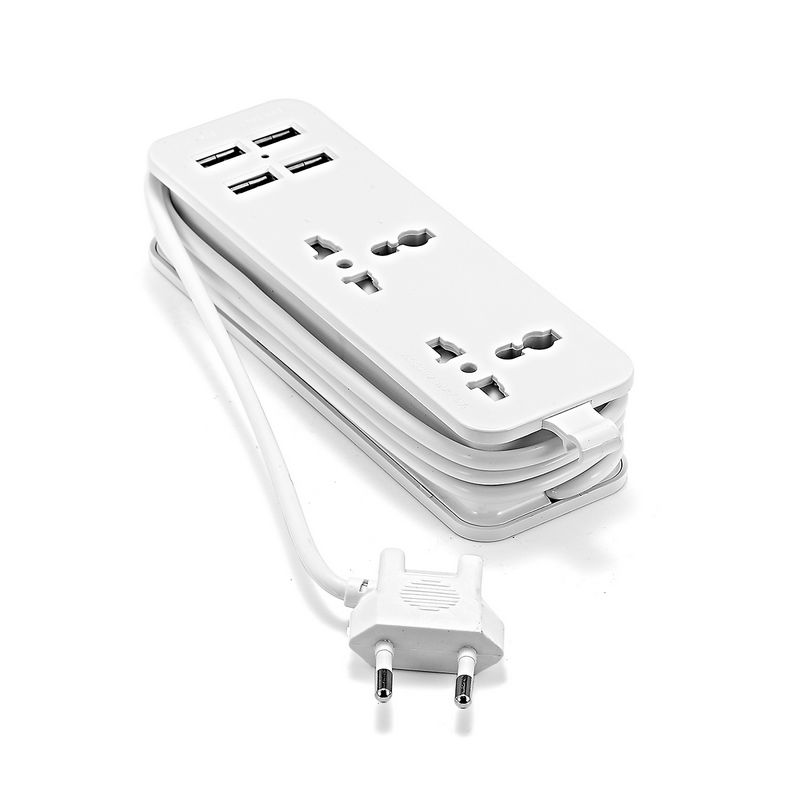 EU Power Strip With 4 USB Portable Extension Socket Euro Plug 1.5m Cable Travel Adapter USB Smart Phone Wall Charger Desktop Hub