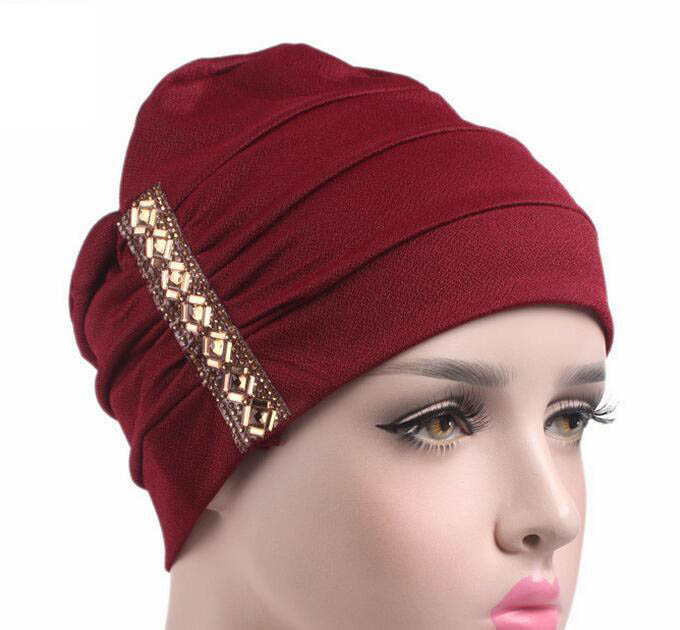 skullies chemo bandana Wrap with side rhinestone cancer hat Cap Chemo slip on back close bonnet 5 Colors 10pcs/lot free ship skullies