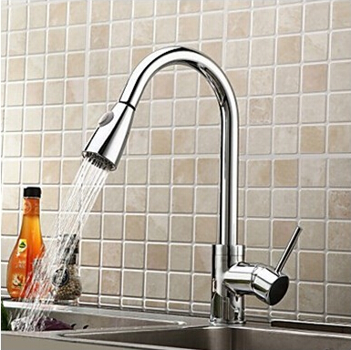 Free shipping chrome kitchen sink Swivel Deck Mounted Single Hole Faucets,Mixers & Taps with pull out shower head kitchen sink faucets lift rotatable pull out hose spray head chrome polish silver single handle solid brass deck mount mixers