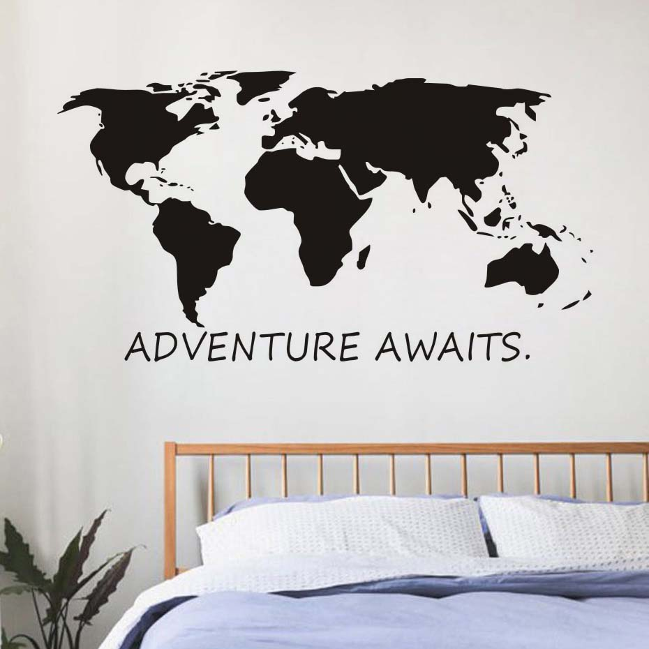 Us 12 14 35 Off Adventure Awaits Vinyl Wall Decal Art Nursery Quote Removable Sticker Mountains Explorer Nature Modern Decor In
