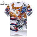 SHANBAO Marca hombres Camiseta de Verano Nuevo Algodón de la Impresión Del Estilo Chino Camiseta Delgada Masculina Ocasional de Gran Tamaño de Manga Corta T-shirt