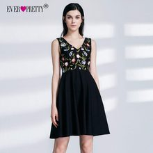 Ever Pretty New Cheap Black Short Cocktail Dresses 2019 Floral Print A Line V Neck Sleeveless Embroidery Graduation Party Gowns(China)