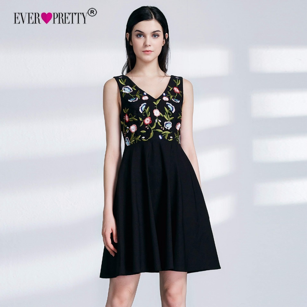 Ever Pretty New Cheap Black Short   Cocktail     Dresses   2019 Floral Print A Line V Neck Sleeveless Embroidery Graduation Party Gowns