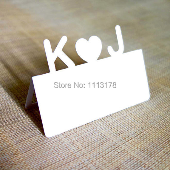 Tailor made personalized initial letter name text place for Personalized wedding place cards