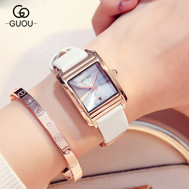 2017 Fashion GUOU Brand Simple Style Rose Gold Rectangle Dial Leather Women' Female' Quartz Wrist Watch Gift High Quality simple fashion hand made wooden design wristwatch 2 colors rectangle dial genuine leather band casual men women watch best gift