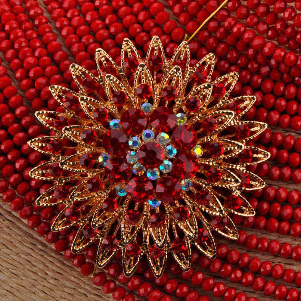 Мода 25 слоев Кристалл Колье чокер с бусинами Непрозрачный красный африканский бисер комплект ювелирных изделий нигерийские Свадебные комплекты ювелирных изделий 25R03