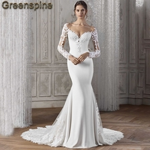 Greenspine Mermaid Wedding Dresses Long Sleeve Bride Dress